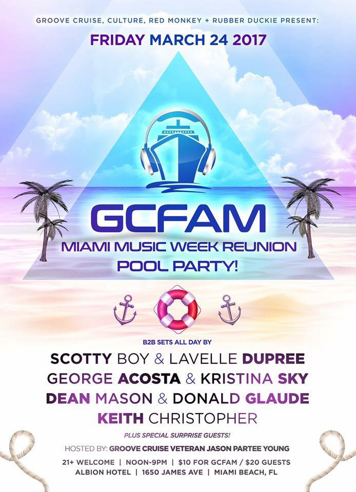 Groove Cruise GCFAM Miami Music Week Reunion Pool Party